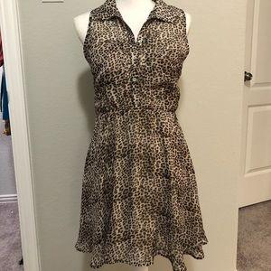 Freebird Leopard Dress Collard Dress Size Medium